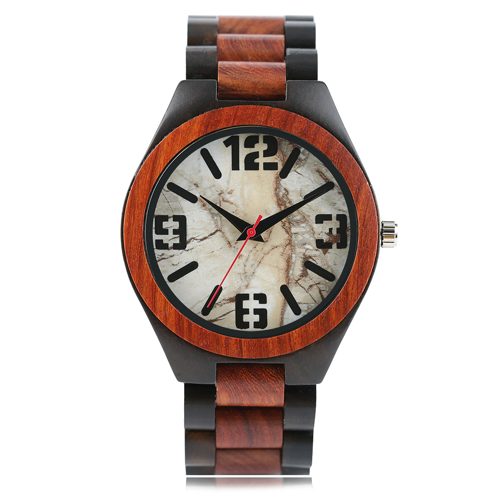 Wooden Watch Rock-Pattern Bamboo-Strap Handmade Male Sport Relojes Fashion Quartz Marble-Stone title=