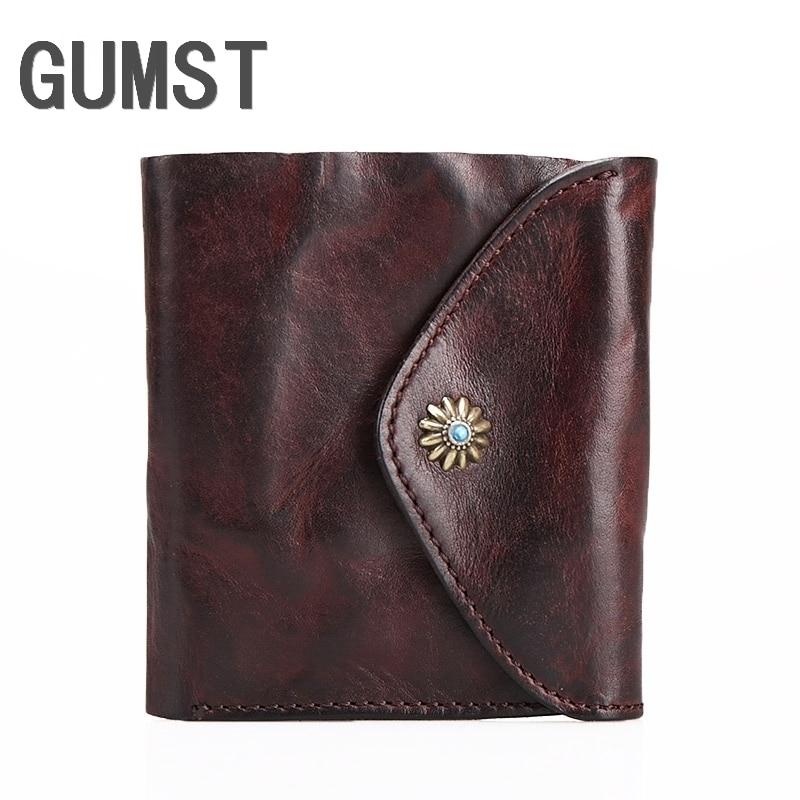 New Wallet GUMST Brand Short Men Wallets Genuine Leather Male Purse Card Holder Wallet Fashion Man Wallet Men Coin Bag