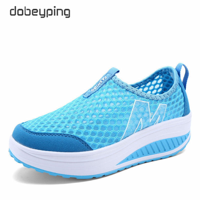 2018 Spring Summer Shoes Woman Breathable Air Mesh Flat Platform Women Shoes Slip On Women's Loafers Swing Wedges Ladies Shoe(China)