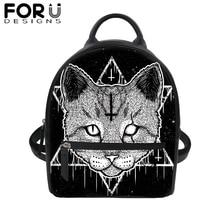 купить Gothic Black Cat Print PU Leather Backpack for Women Tote Satchel School Bag Teenage girls Mini Travel Waterproof Daypack 2019 по цене 1171.71 рублей