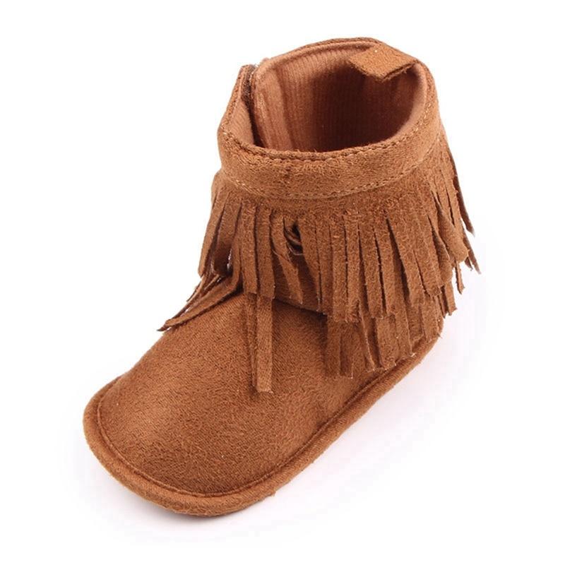 Купить с кэшбэком Baby Boots Girls Boys Winter Snow Boots Newborn Infant Toddler Brown shoes Cute Fringe Design Antiskid Sole for Babies