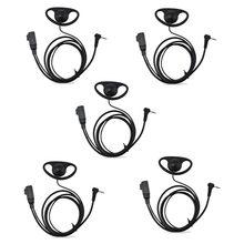 Lote 5 pçs 1 pino d forma fone de ouvido microfone ptt para motorola mh230r mg160a t6200 t6200c t6220 t6222 rádio walkie talkie