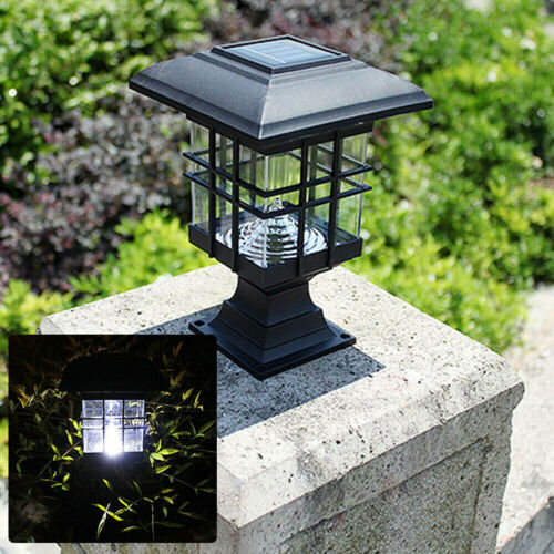 Solar Powered LED Garden Yard Pillar Lamp Outdoor Auto On/Off Light Trendy