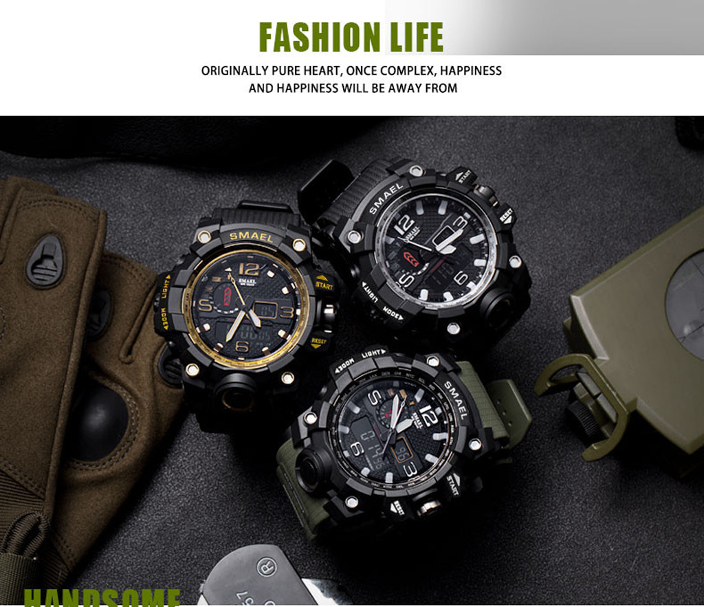 Men Sport Watch Dual Display Analog Digital LED Electronic Wrist sport watch Electronic digital Watch gifts Men's wrist luminous