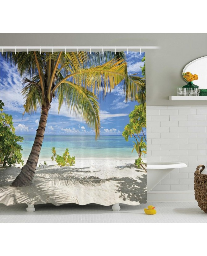 Tropical Shower Curtain Palm Trees Coastline Print For BathroomWaterproof  And Fabric Washable Set With Hooks(
