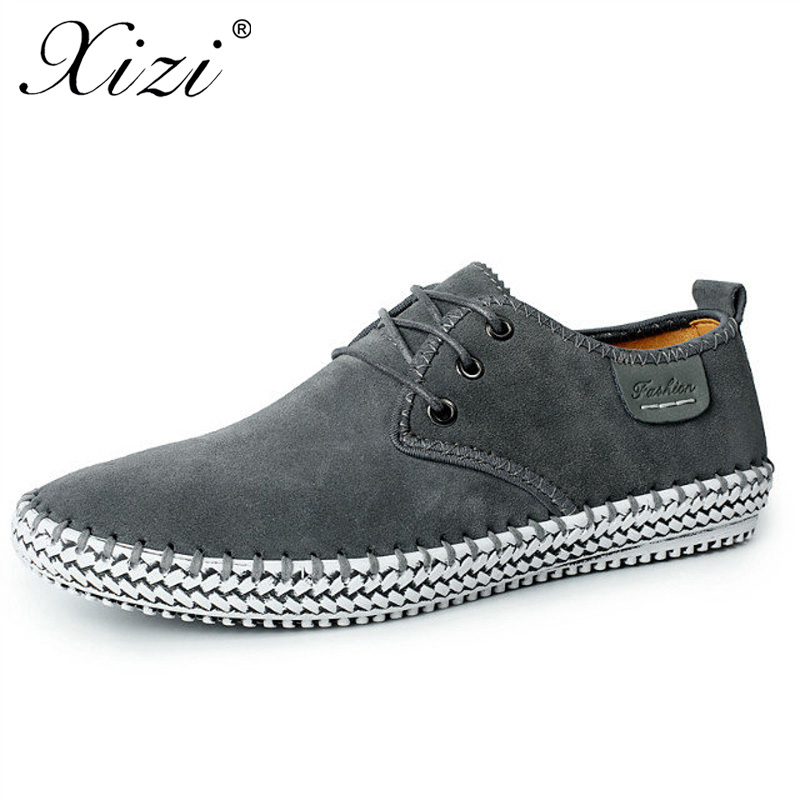 XIZI Brand Men Handmade 100% Genuine Leather Shoes Male Casual Flats shoes Real Leather walking loafers boat Shoe Big Size 38-48 relikey brand men casual handmade shoes cow suede male oxfords spring high quality genuine leather flats classics dress shoes