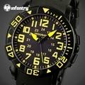 Esportes Homens Relógios de INFANTARIA Amarelo Rosto Redondo de Quartzo Militar Relógios Pulseira De Borracha de Silicone relógio de Pulso Mesa Masculino Relojes Hombre
