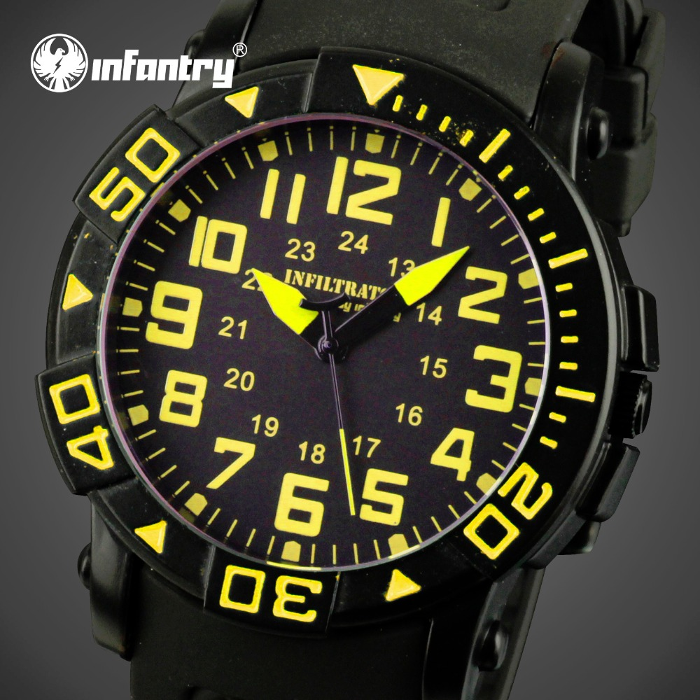 INFANTRY Men Sports Watches Yellow Round Face Military Quartz Watches Rubber Silicone Strap Wristwatch Male Table Relojes Hombre