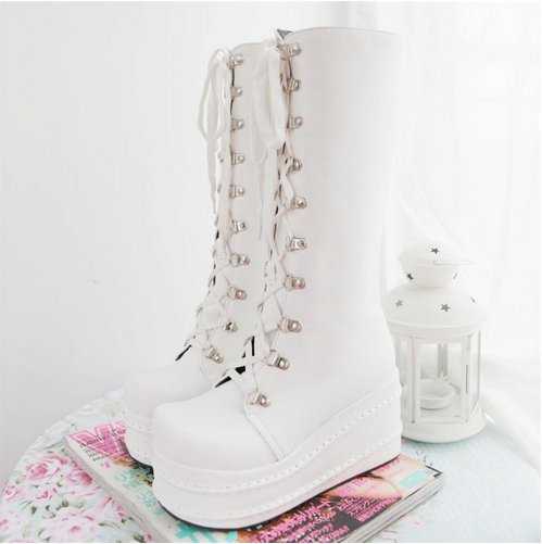 KarinLuna/Большие размеры 31-49; модные ботинки для костюмированной вечеринки в стиле панк; женская обувь; зимняя обувь на танкетке; женские сапоги до колена на высоком каблуке - Цвет: Белый