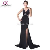 Grace Karin Beaded Viscose Long Black Sexy Slit Evening Dress Deep V Neck Formal Party Prom