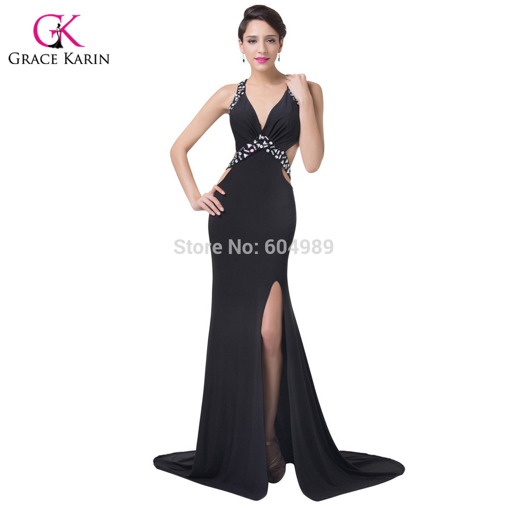 Weddings & Events Able Half Sleeves V Neck Mermaid Red Evening Dresses Side Slit Floor Length Black Formal Evening Prom Gown Lady Dress Dqg039