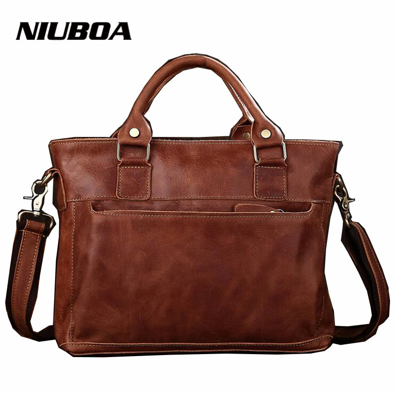 100% Genuine Cowhide Leather Bags Brown Casual Shoulder Handbags Men Messenger Bags Mens Travel Bags High Quality Business Bags