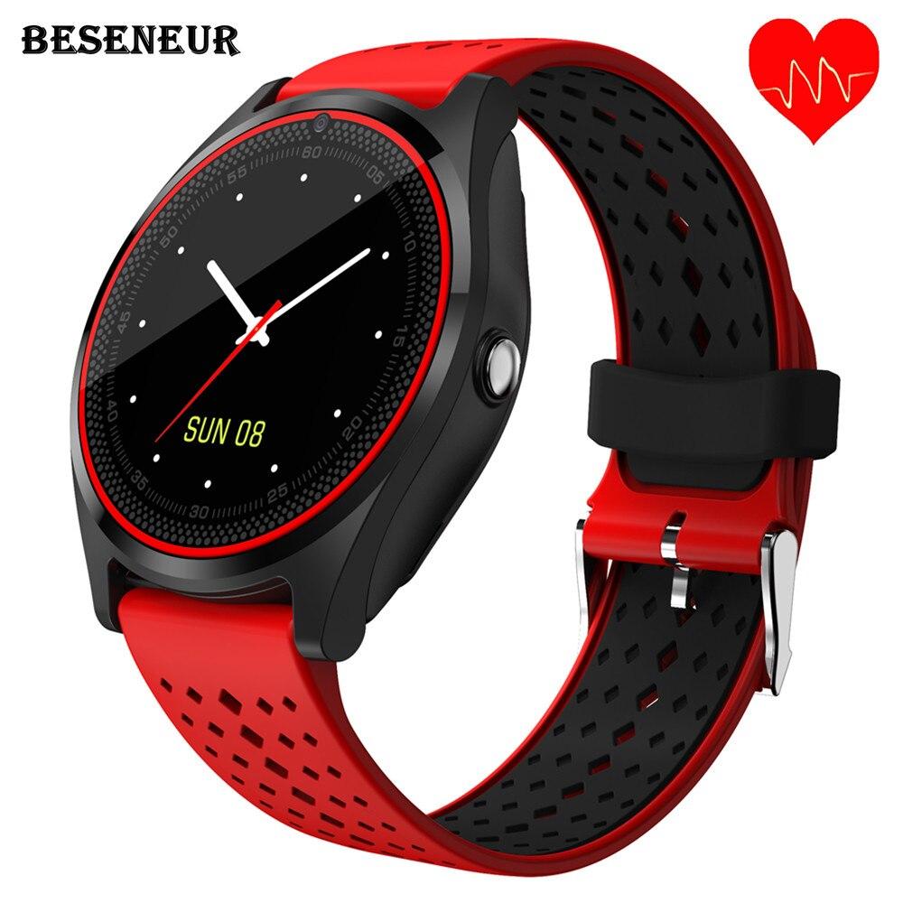 Beseneur V9 HR Astuto Della Vigilanza con la Macchina Fotografica Monitor di Frequenza Cardiaca Bluetooth Smartwatch SIM Card Orologio Da Polso per Android Del Telefono pk dz09 y1