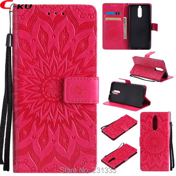 C-ku Sunflower Strap Wallet PU Leather Pouch Case For Huawei MATE 10 LITE PRO P9 Lite MINI Honor 7X TPU Stand ID Card Cover 1pcs