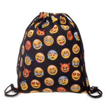 20PCS / LOT Women Emoji Drawstring Bags Backpack New Fashion Girl Backpacks Cute 3D Printing  Reusable Pouch Wholesale