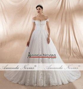 Image 5 - Женское свадебное платье с открытыми плечами, ТРАПЕЦИЕВИДНОЕ ПЛАТЬЕ с лямками, новинка 2020