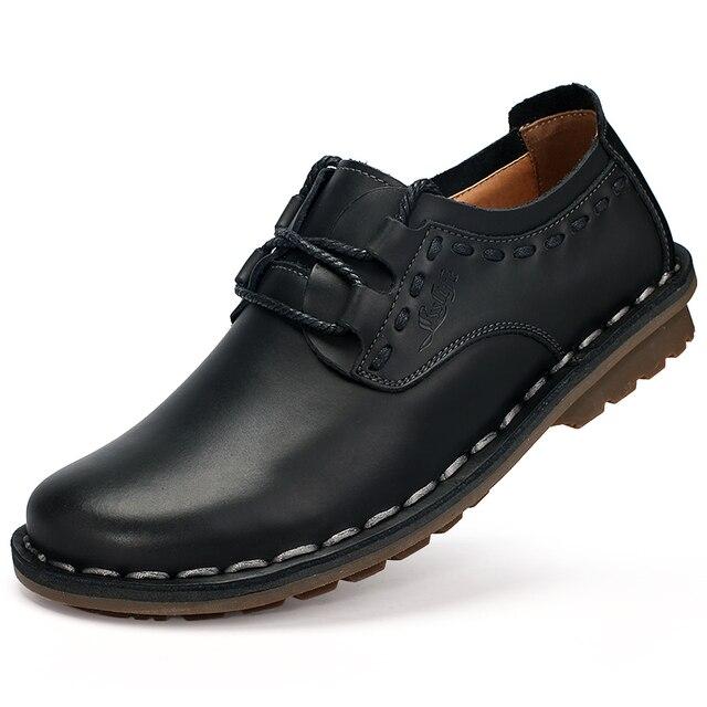Los hombres Zapatos de Cuero Casual Nuevo 2017 Zapatos de Cuero Genuinos Oxford Moda Encajes Hasta Zapatos De Vestir Zapatos de Trabajo Al Aire Libre Sapatos