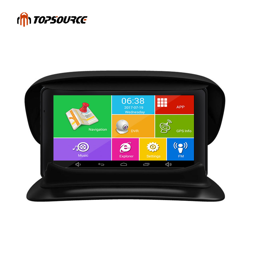 TOPSOURCE 7 Android Car Navigation GPS Navigator 8GB Rear view camera Vehicle Quad-core Bluetooth AVIN sat nav + Bracket Holder beling g710a car gps navigation with av in 7 in touch screen wince 6 0 8gb vehicle navigator fm sat map mp4 sat nav automobiles