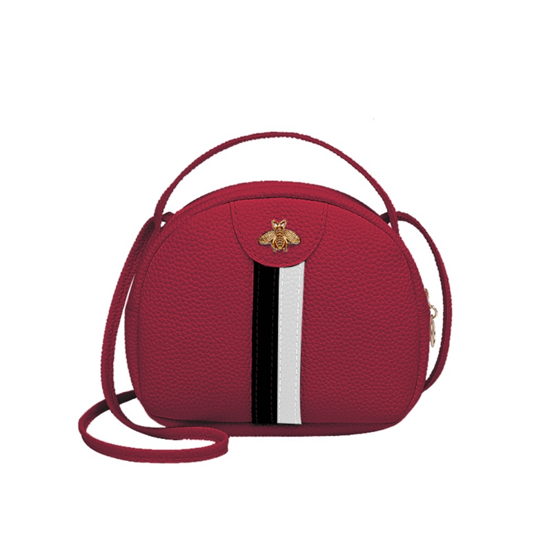 Fashion Trend Lady Bee Metal Messenger Bag Color Striped Stitching Bag Portable Coin Purse New Product Shoulder Crossbody BagsFashion Trend Lady Bee Metal Messenger Bag Color Striped Stitching Bag Portable Coin Purse New Product Shoulder Crossbody Bags