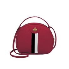 Fashion Trend Lady Bee Metal Messenger Bag Color Striped Stitching Bag Portable Coin Purse New Product Shoulder Crossbody Bags