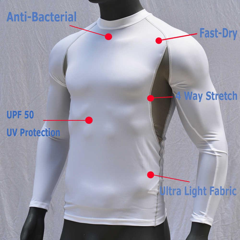 2019 מכירה לוהטת לבן ארוך שרוולים גברים צלילה חולצת Rashguard יבש-Fit לגלוש פריחה המשמר למעלה UPF 50 לנשימה שחייה וחוף 2019