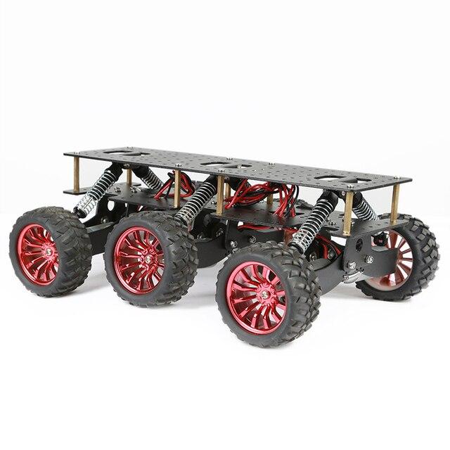 6WD מתכת רובוט קרוס קאנטרי מארז DIY פלטפורמת לarduino רובוט WIFI רכב מחוץ לכביש טיפוס פטל Pi צבע שחור
