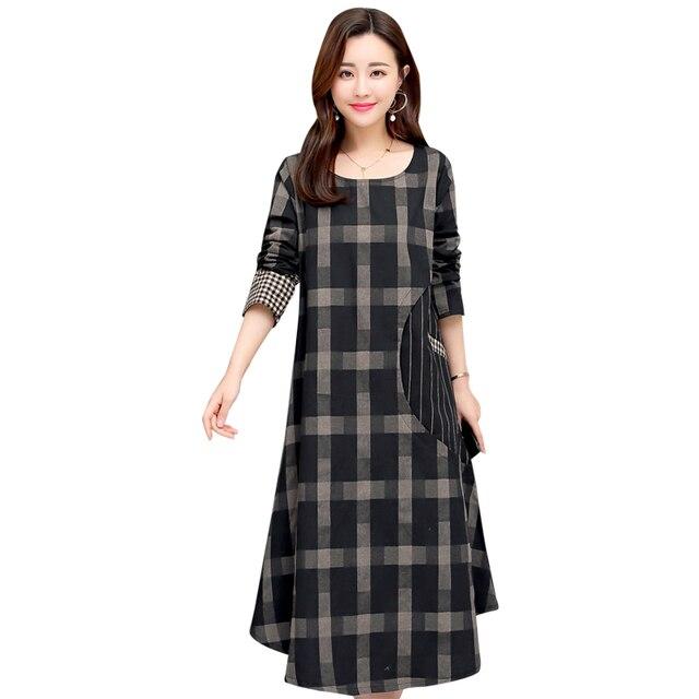 9432b33d97 2019 de moda vestidos nuevos de las mujeres de algodón Casual ropa de  Primavera Verano Vestido