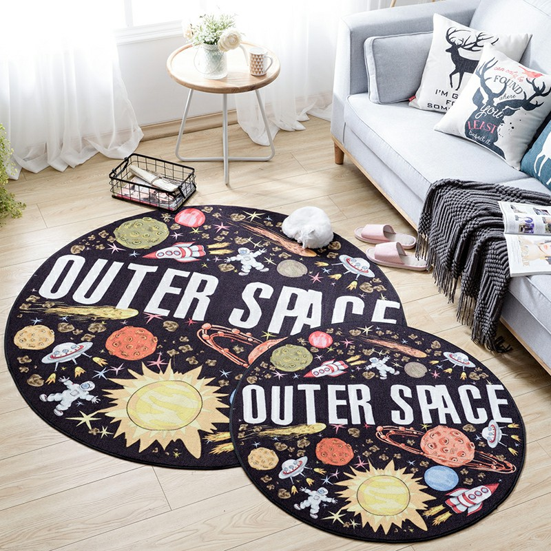 Modern Cartoon Style Creative Outer Space Pattern Round Rug Washable Non-Slip Soft Rug Baby Crawling Childrens Bedroom RugModern Cartoon Style Creative Outer Space Pattern Round Rug Washable Non-Slip Soft Rug Baby Crawling Childrens Bedroom Rug