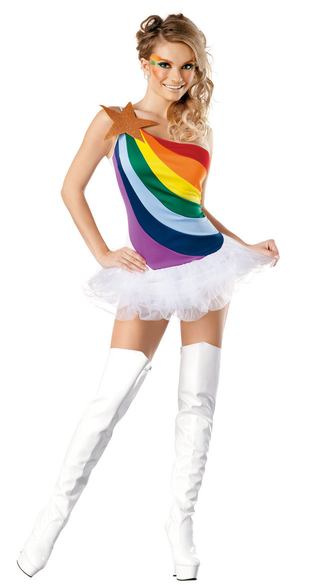 Cute Rainbow Sexy Adult Women Vitality Cheerleader Costume ...