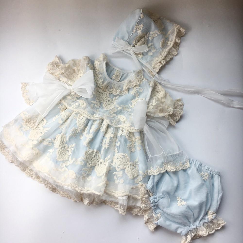 Robe enfant espagnole Style Court fille dentelle broderie robe princesse fête d'anniversaire