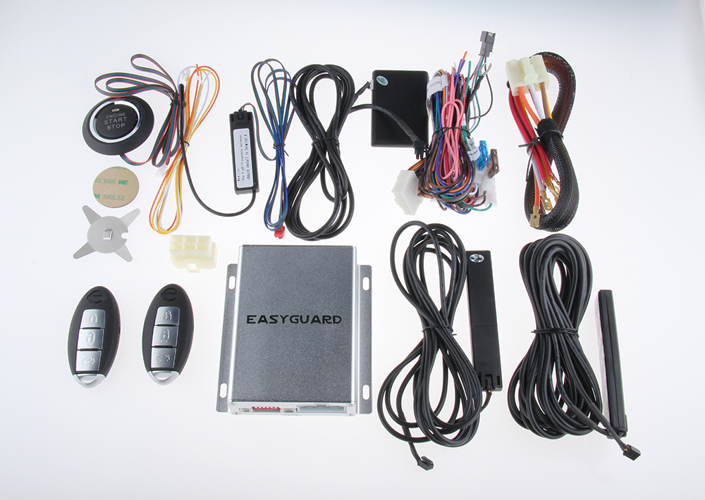 PKE car alarm system with remote engine start stop, auto passive ...