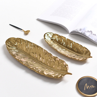 Golden Feather Ceramic Storage Tray Jewelry Plate Desktop Set Plate