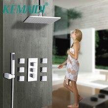 KEMAIDI 8 10 12 16 дюймов Насадки для душа Площадь хромированной латуни сообщение струи набор для душа Настенный осадков Ванная комната комплект ручной душ