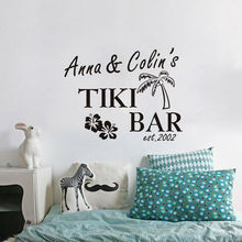 Tiki Bar With Custom Name Vinyl Wall Sticker Removable Lettering Wall Decal Words Art Sticker Home Decor
