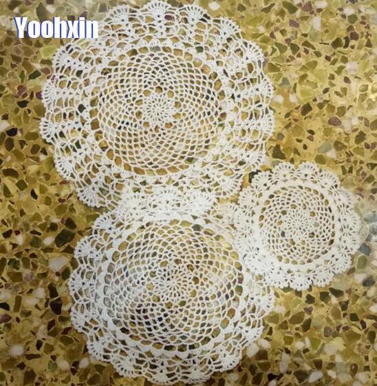 Handmade bông placemat vòng cup coaster cốc nhà bếp bàn đám cưới đặt mat vải ren Crochet trà cà phê vải lau tay món ăn pan pad