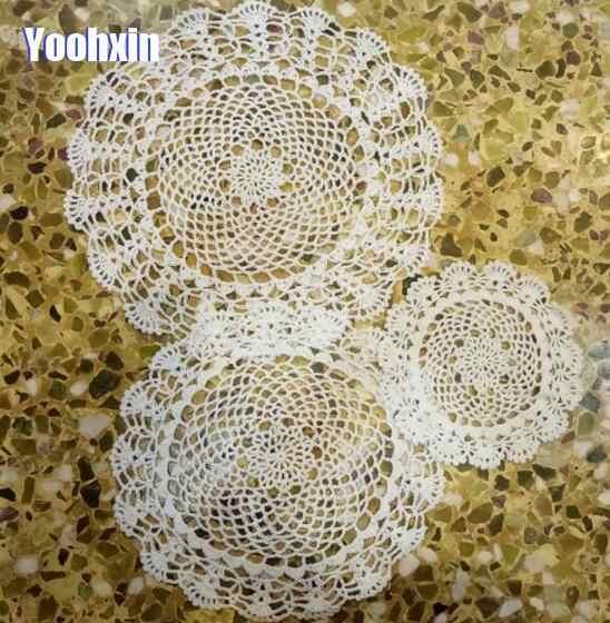 Handmade รอบ placemat ถ้วย coaster mug kitchen คริสต์มาสเสื่อตารางผ้าลูกไม้ถักโครเชต์ชากาแฟ doily จาน pad