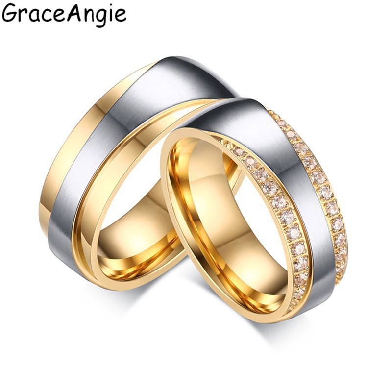 Graceangie 1 шт. Нержавеющаясталь пара влюбленных Кольца ip gold покрытие высокое качество Свадебная вечеринка модные Интимные аксессуары для Для ...