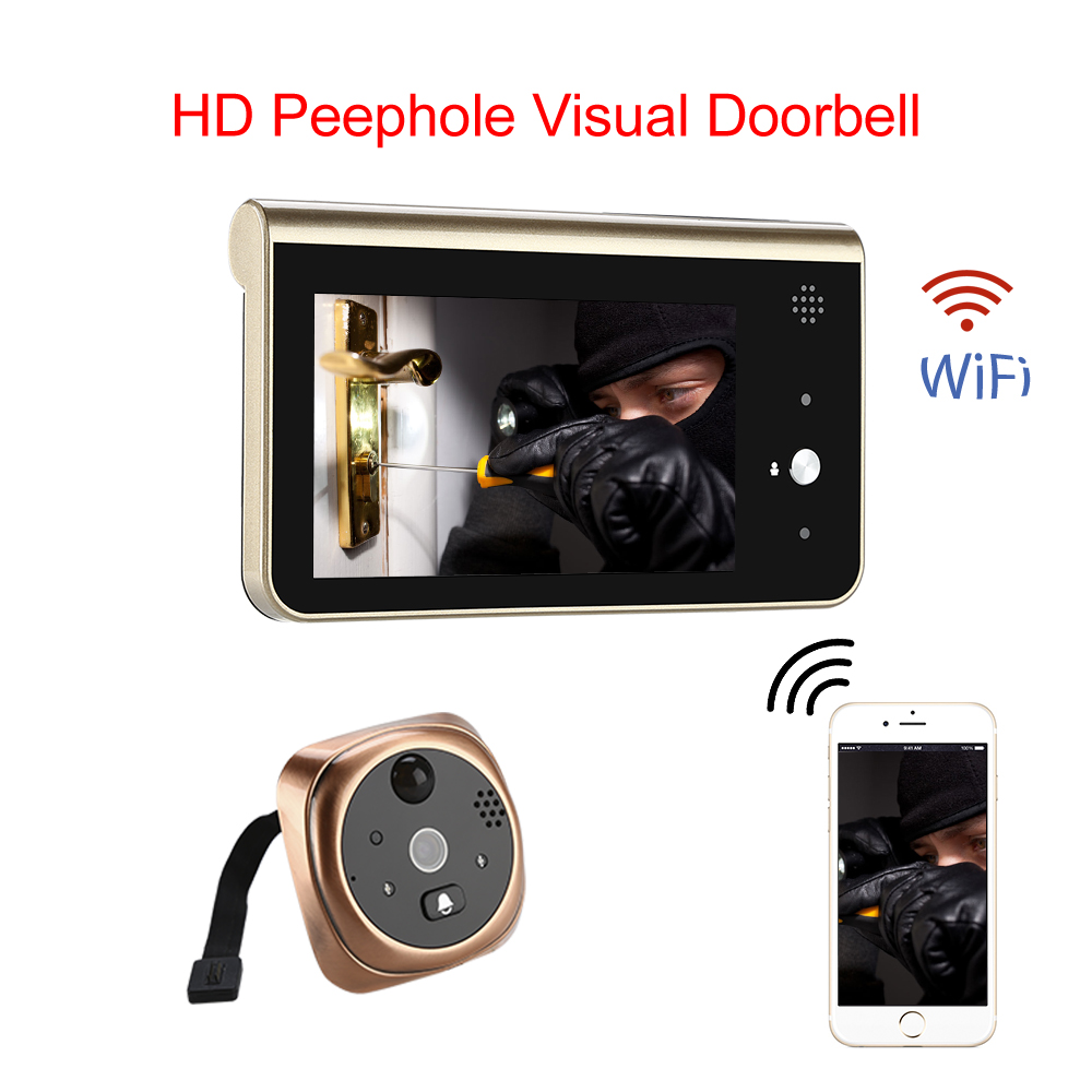 Door bell Peephole Camera Wifi Smart 4.3 Monitor Wireless Call APP Control IOS Andriod Alarm Monitor Delection Door Video Eyes image
