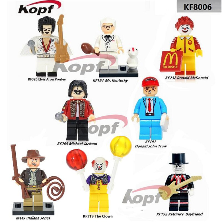 Indiana Jones The Clown Pennywise Elvis Aron Presley Kantrina's Boyfriend Super Heroes Building Blocks Children Gift Toys KF8006 single sale super heroes red yellow deadpool duck the bride terminator indiana jones building blocks children gift toys kf928