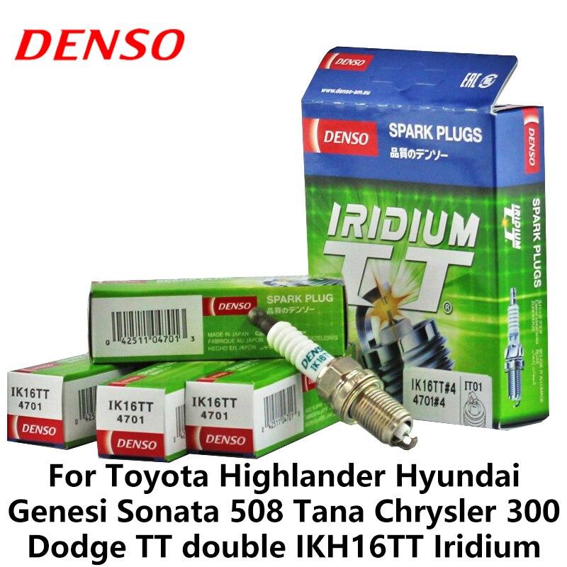 4 unids/set DENSO bujía coche para Toyota Highlander Hyundai Genesi Sonata Tana Chrysler 300 Dodge TT doble iridio IKH16TT