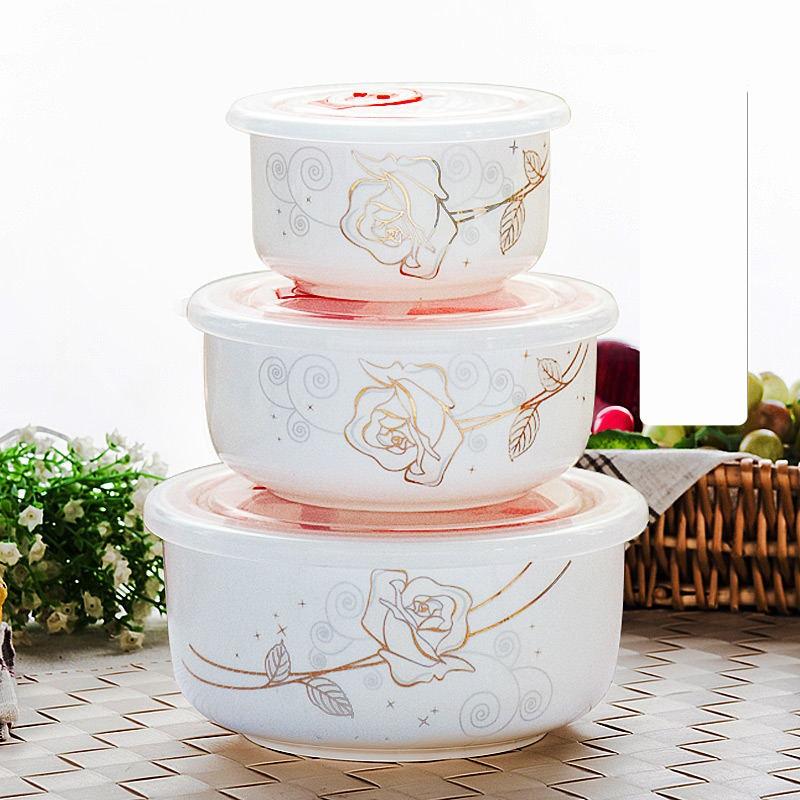 Three Piece Set Fine Bone China Bowl Set Keeping Food