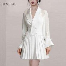 FTGSDLONG 2019 Spring Summer Office Dress Women Elegant Sexy Mini V Neck Dresses Solid High Waist OL Chiffon Long Sleeve