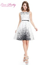 Ever Pretty New Summer Short Homecoming Dresses HE05446WB White Sweetheart Polka Dot  Sexy Party Homecoming Dress