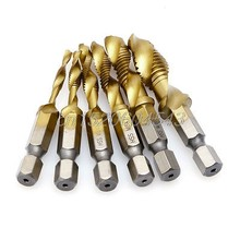 M3-M10 Hex Shank טיטניום מצופה HSS יד בורג חוט מטרי ברז מקדחי R02 Whosale & DropShip(China)