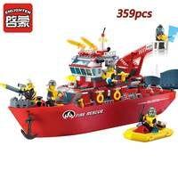 359pcs ENLIGHTEN Fire Boat Blocks Compatible Legoed Minecrafted Figures Building Blocks Brick Educational Toys For Children