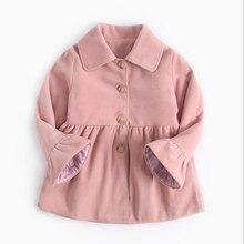 Одежда для девочек осенне-зимнее шерстяное пальто с рукавами-трубы для девочек розовая детская хлопковая куртка Детское пальто с хлопковой подкладкой
