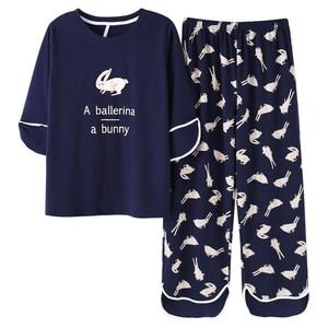 Image 4 - Woman Lovely Wear Leisure Clothes Personality Spring Summer White Rabbit Print Three Quarter Women Pajamas For Women Pyjamas Set