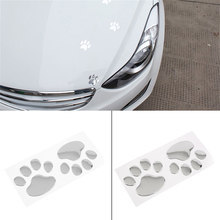 Car Sticker Cool Design Paw 3D Animal Dog Cat Bear Foot Prints Footprint Decal Car Window Bumper Body Car Stickers Silver(China)