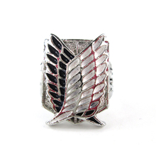 Bsarai Attack on Titan Eren Jager Recon Corps Freedom wings cant adjustable size cosplay ring