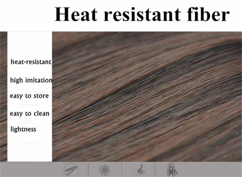 Gres señora sintético del pelo Clip-En de alta temperatura de fibra Hairpeeces para las mujeres Rubio/pelo marrón oscuro Pad